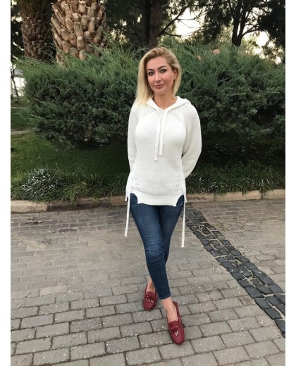 KAPİŞONLU EKRU RENK KAZAK
