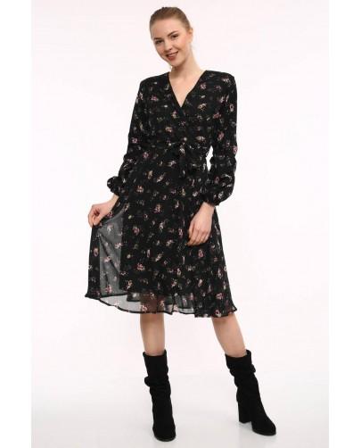 Astarlı Desenli Şifon Elbise