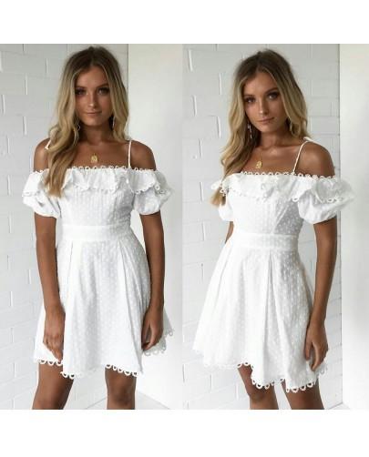 İthal Puanlı Şifon Elbise